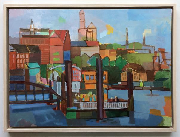 Hamburg Baumwall, 2018, Öl auf Papier, 42 x 59 cm