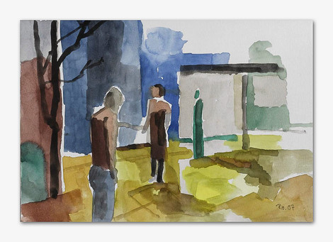Begegnung, 2005, Aquarell, 16x24 cm