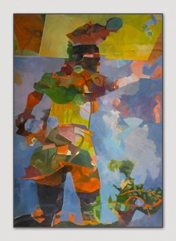 Inkakrieger, 2013, Öl auf Leinwand, 100 x 70 cm - sold.