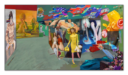 Modern Painters: Meese, Yuskavage, Mueck, Ackermann, Currin, Koons, Eder, Reyle - oder Picasso verlässt die Unterwelt, 2014, Digital Malerei, Printsize, 36 x 66cm