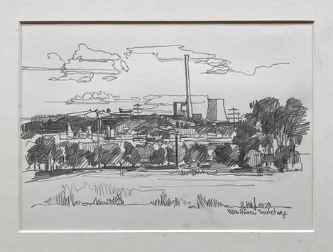 Ibbenbüren vom Teutohang aus gesehen, 2020, Bleistift, 21x20 cm