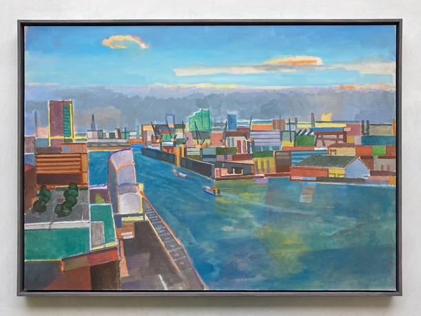 Blick vom Dockland auf Hamburg, 2020, Öl auf Papier, 50x70 cm