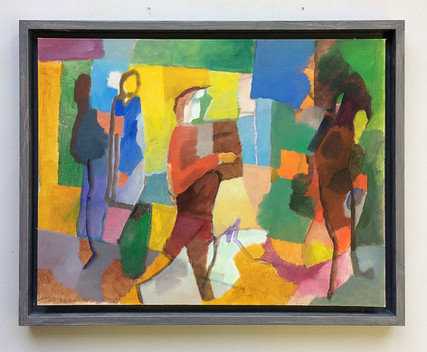 Dudelsackspieler, 2018, Öl auf Papier, 40 x 40 cm