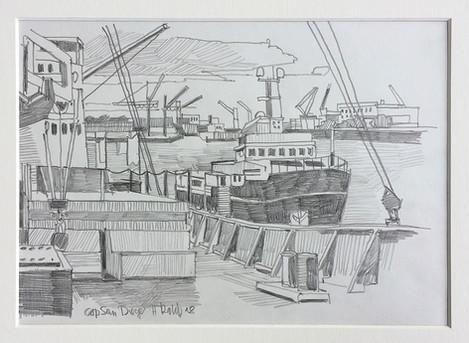 5_Cap San Diego, 2018, Bleistifft auf Papier, 21 x 29,7 cm