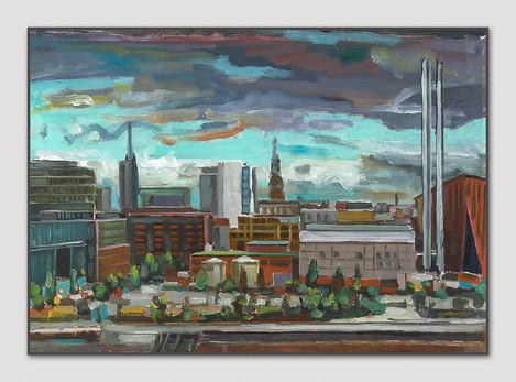 Hafencity (Kraftwerk), 2016, Öl auf Papier, 21 x 29 cm