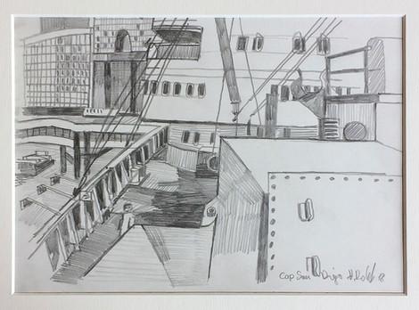 3_Cap San Diego, 2018, Bleistifft auf Papier, 21 x 29,7 cm