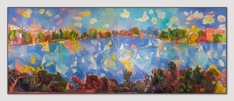 Alster, Die Optimisten sind los, 2013, Öl auf 2 Leinwänden, 100 x 200 cm - sold.