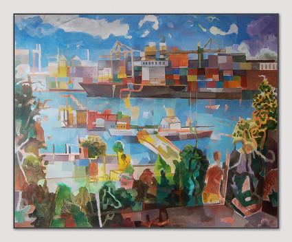 Övelgönne, 2016, Öl auf Leinwand, 140 x 180 cm - sold.