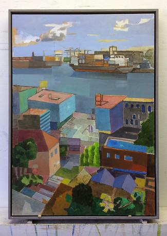 Hamburg Neumühlen, 2018, Öl auf Papier, 59 x 42 cm