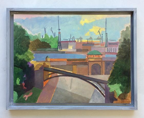 Landungsbrücken, 2015, Öl auf Papier, 30 x 40 cm