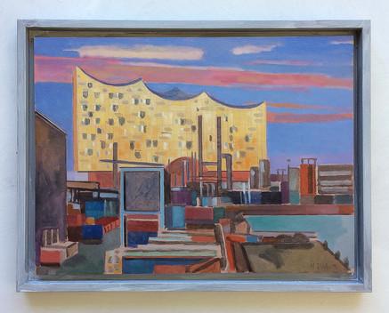 Elbphilharmonie vom Industriehafen aus gesehen, 2016, Öl auf Papier, 30 x 40 cm