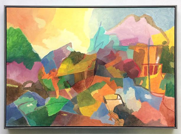 Landschaft, 2017, Öl auf Papier, 50 x 70 cm - sold.