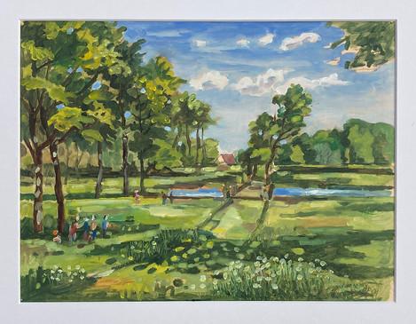 Gut Hülshoff Park, 2021, Öl auf Papier, 30x40 cm, Pleinair
