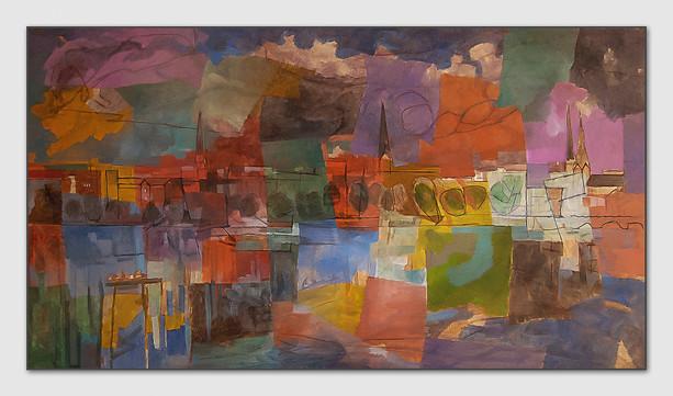 Nach dem Feuerwerk, 2013, Öl auf Leinwand, 100 x 180 cm - sold.
