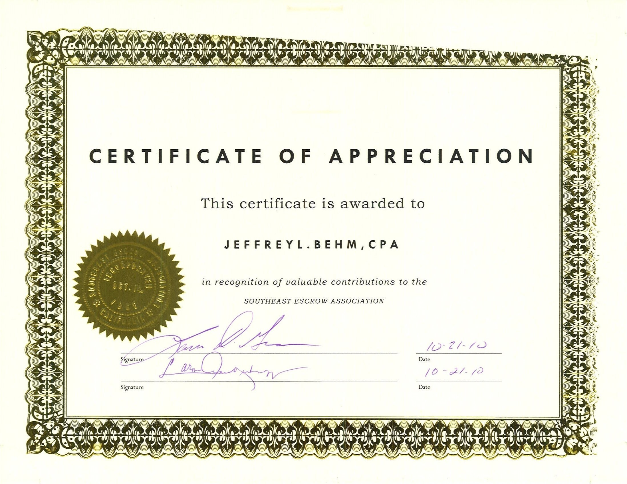 State Certificate of Appreciation