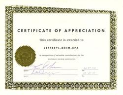 State Certificate of Appreciation