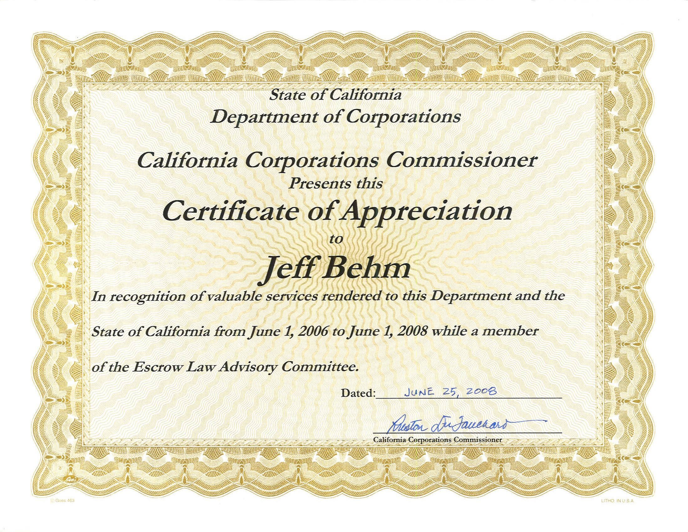 D.O.C. Certificate of Appreciation