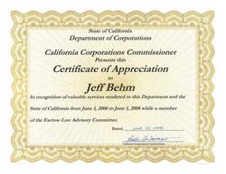 D.O.C. Certificate of Appreciation
