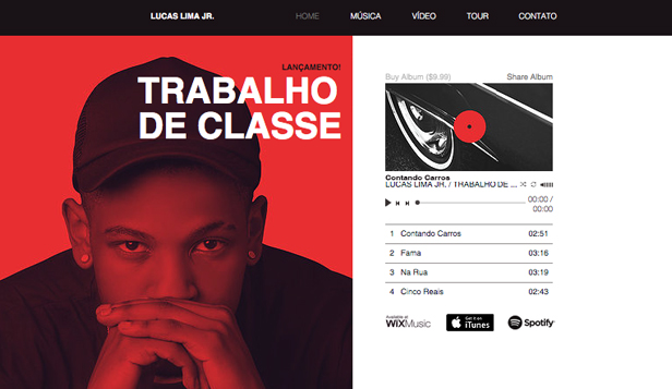 Música website templates – Artista de Rap