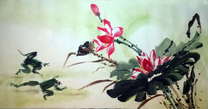 Day 3: Lotus and Frogs. single shuen 13 x 26. I went with a pale green wash this time.