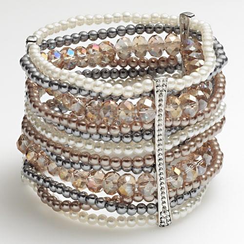 Apt. 9 Silver Tone Simulated Pearl Bead Multistrand Stretch Bracelet