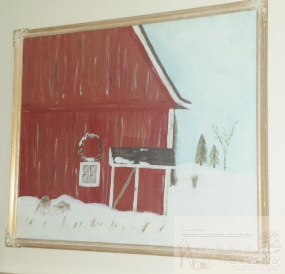Snowy Barn Painting