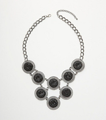 Relativity® Black Glitter Necklace - Silver