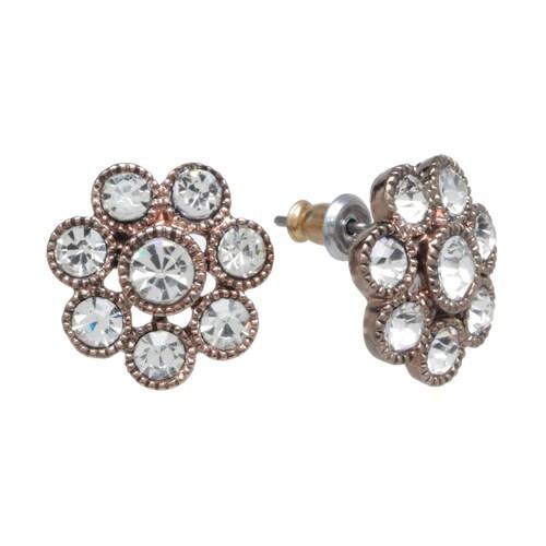 Trifari Rose Gold Tone Simulated Crystal Cluster Stud Earrings