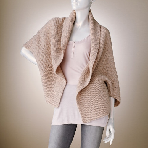 Jennifer Lopez Waffle-Weave Cocoon Wool Cardigan