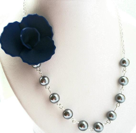 Bridesmaid Necklace, Navy Blue Flower Necklace, Wedding Jewelry, Bridal Party Jewelry, Bridesmaid Jewelry, Summer Necklace