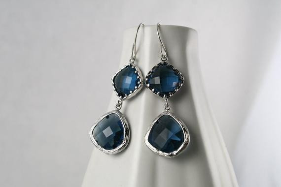 Blue Sapphire Earrings - Silver and Blue - Wedding Jewelry - Bridal Earrings