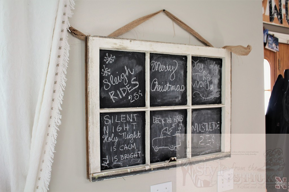 Chalkboard Window, Decorated with Kids Help