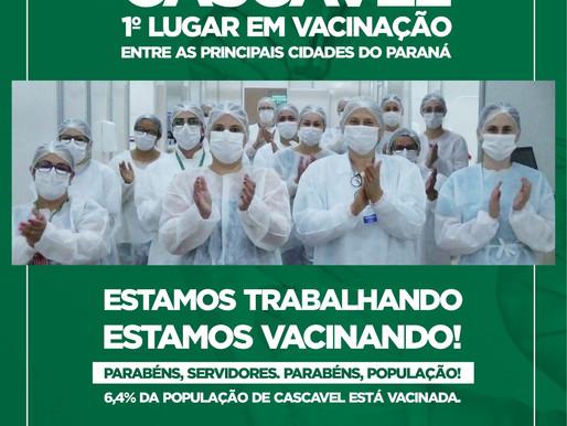 Eficiência: Cascavel lidera vacinação entre as principais cidades do Paraná