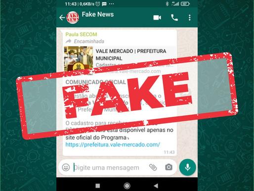 Prefeitura alerta para fake news sobre Vale Mercado 2021