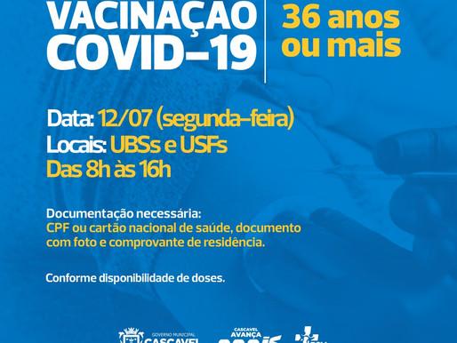 Cascavel vacina pessoas com 36 anos ou mais na segunda-feira (12)