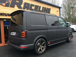 CUSTOM VW T6 TRANSPORTER SWB HIGHLINE KOMBI IN SATIN BLACK WRAP