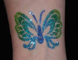 Blue and Green Butterfly Tattoo