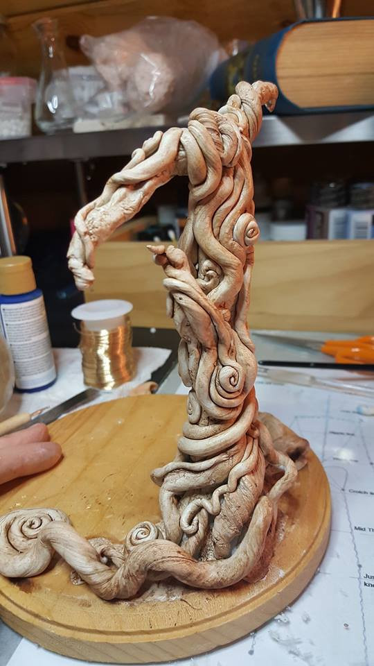 Enchanted Tree Work in Progress by Kendra M Gilbert of Virgo's Alchemy