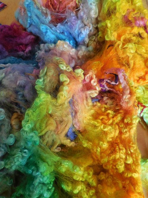 Morceau de toison Masham teintée
