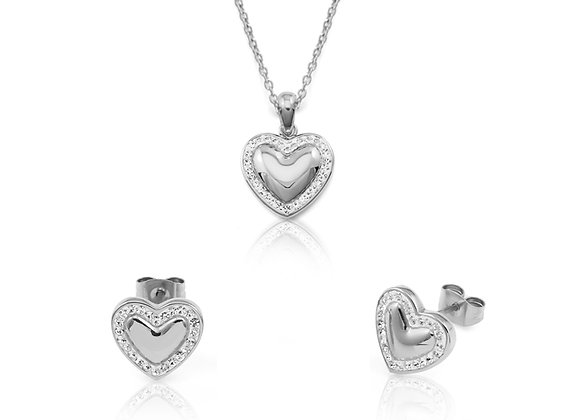 Belle Aretes corazón de Cristal Silver