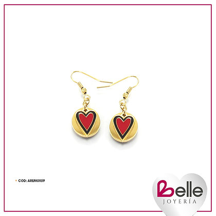 Belle Aretes Red Heart