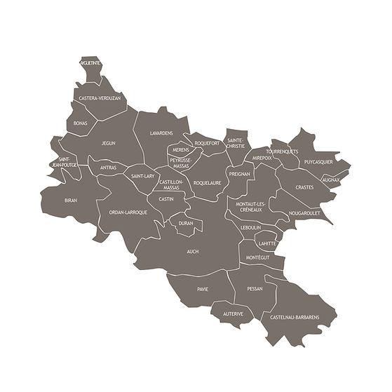 Carte des communes Grand Auch Coeur de Gascogne
