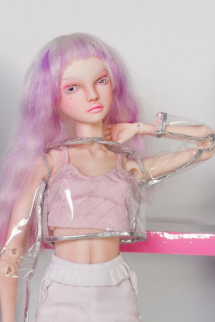 Transparent jumper with collar