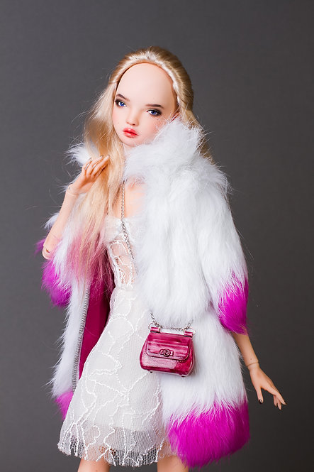 White Fur coat with painted ends