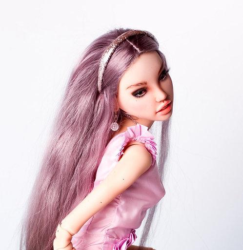 Gray-purple wig with undetachable headband