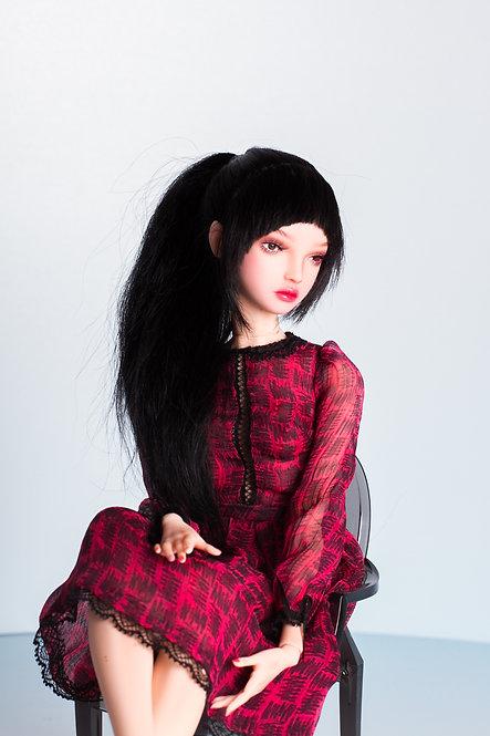 Black wig with bangs