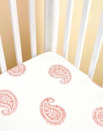 Malabar Baby Pink City Fitted Crib Sheet - Handmade