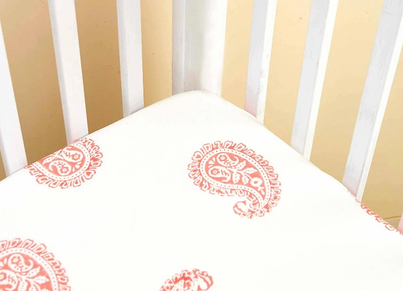 Pink City Fitted Crib Sheet - Handmade