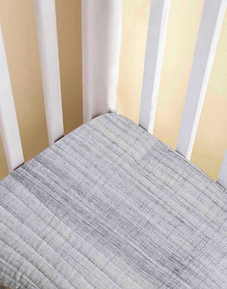 Malabar Baby Grey Brushstroke Fitted Crib Sheet - Handmade
