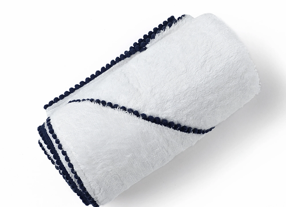 Bamboo Cotton Pom Pom Hooded Towel - Navy